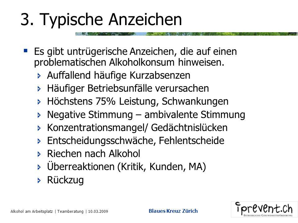 Alkohol am Arbeitsplatz | Teamberatung | 10.03.2009 Blaues Kreuz Zürich 2. Konsumformen Abstinente Unproblematisch Konsumierende Episodisch Risikokons
