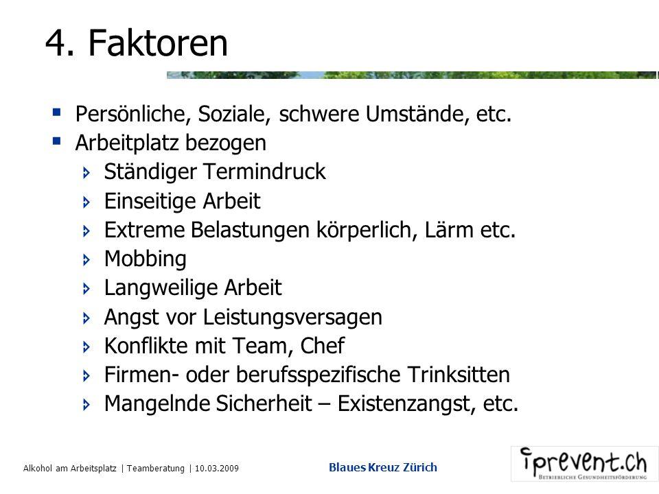 Alkohol am Arbeitsplatz | Teamberatung | 10.03.2009 Blaues Kreuz Zürich 3. Typische Anzeichen Es gibt untrügerische Anzeichen, die auf einen problemat