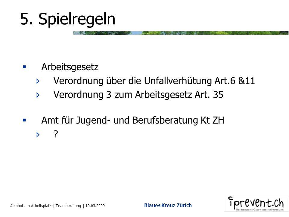 Alkohol am Arbeitsplatz | Teamberatung | 10.03.2009 Blaues Kreuz Zürich 5.