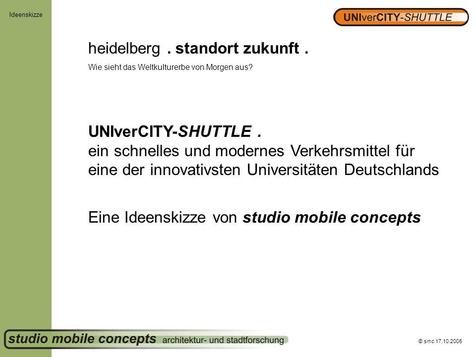 © smc 17.10.2005 Ideenskizze heidelberg. standort zukunft. Wie sieht das Weltkulturerbe von Morgen aus? UNIverCITY-SHUTTLE. ein schnelles und modernes