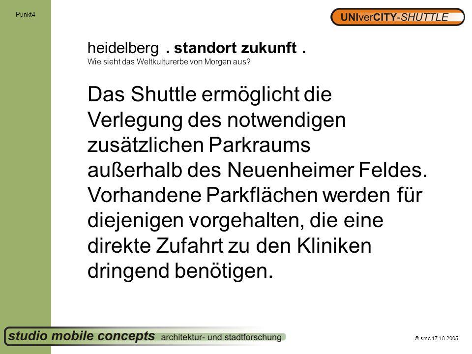 © smc 17.10.2005 Punkt4 heidelberg. standort zukunft. Wie sieht das Weltkulturerbe von Morgen aus? Das Shuttle ermöglicht die Verlegung des notwendige