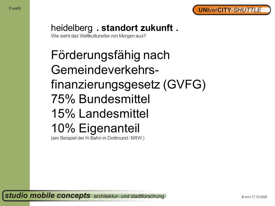 © smc 17.10.2005 Punkt8 heidelberg. standort zukunft. Wie sieht das Weltkulturerbe von Morgen aus? Förderungsfähig nach Gemeindeverkehrs- finanzierung