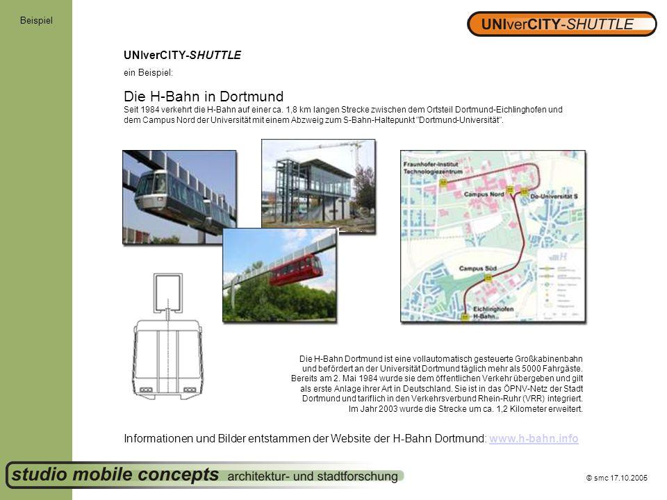 © smc 17.10.2005 Beispiel UNIverCITY-SHUTTLE ein Beispiel: Die H-Bahn in Dortmund Seit 1984 verkehrt die H-Bahn auf einer ca. 1,8 km langen Strecke zw