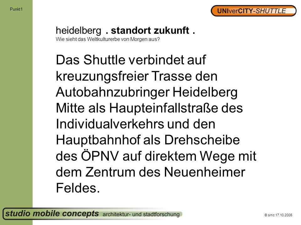 © smc 17.10.2005 Punkt1 heidelberg. standort zukunft. Wie sieht das Weltkulturerbe von Morgen aus? Das Shuttle verbindet auf kreuzungsfreier Trasse de
