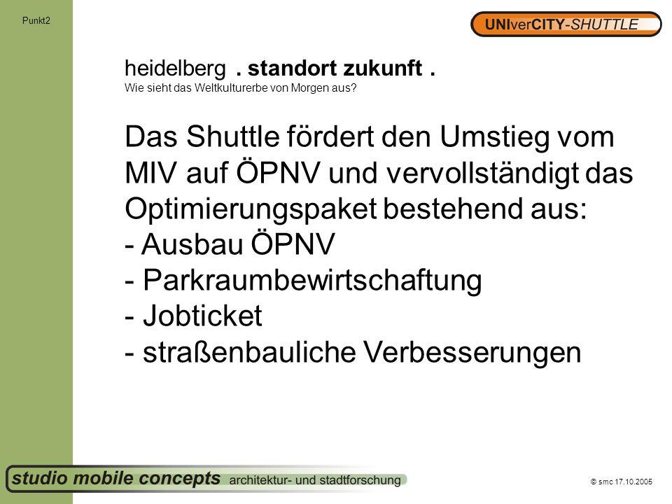 © smc 17.10.2005 Punkt2 heidelberg. standort zukunft. Wie sieht das Weltkulturerbe von Morgen aus? Das Shuttle fördert den Umstieg vom MIV auf ÖPNV un