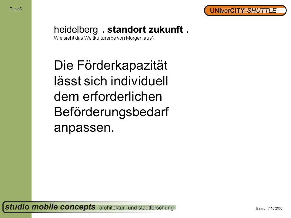 © smc 17.10.2005 Punkt6 heidelberg. standort zukunft. Wie sieht das Weltkulturerbe von Morgen aus? Die Förderkapazität lässt sich individuell dem erfo