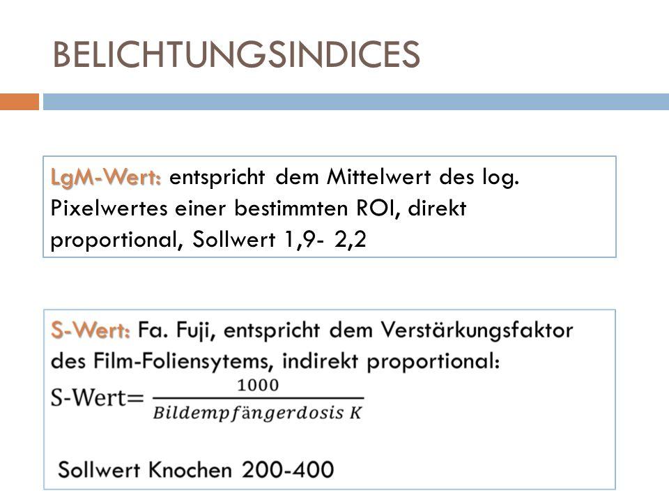 BELICHTUNGSINDICES LgM-Wert: LgM-Wert: entspricht dem Mittelwert des log. Pixelwertes einer bestimmten ROI, direkt proportional, Sollwert 1,9- 2,2