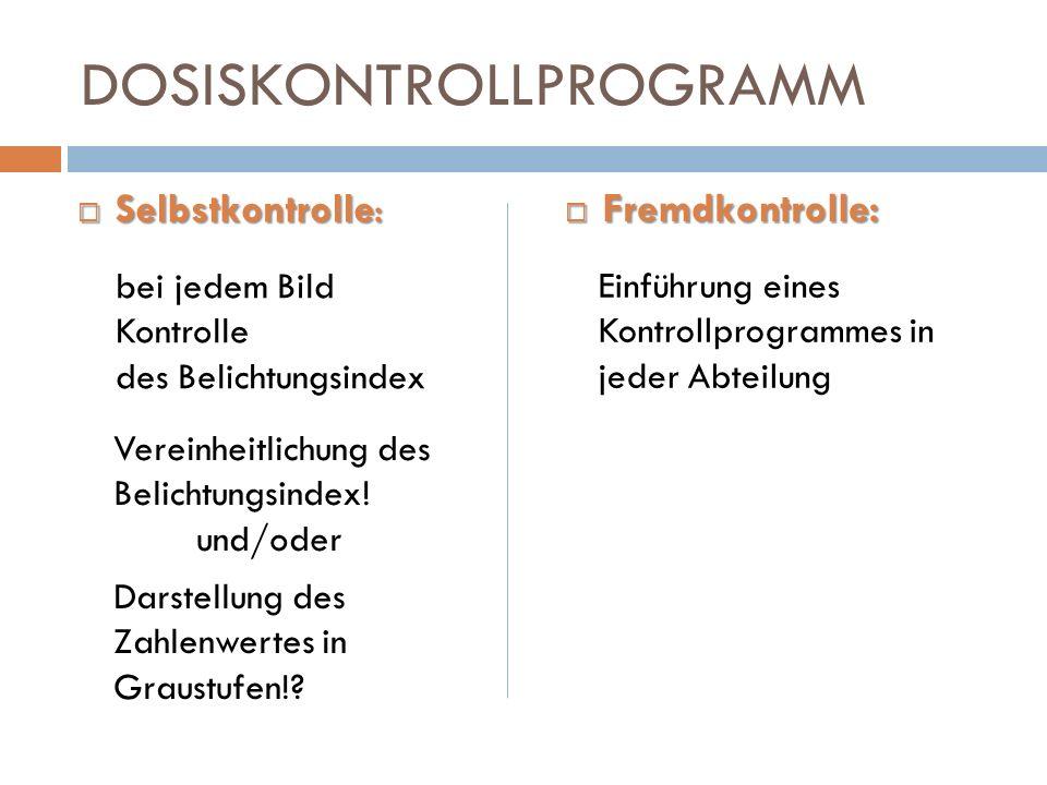 DOSISKONTROLLPROGRAMM Selbstkontrolle: Selbstkontrolle: Fremdkontrolle: Fremdkontrolle: Vereinheitlichung des Belichtungsindex! und/oder Darstellung d