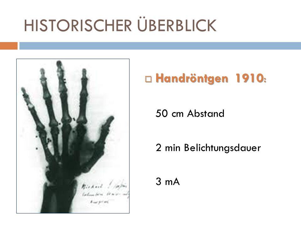 HISTORISCHER ÜBERBLICK Handröntgen 1910 : Handröntgen 1910 : 50 cm Abstand 2 min Belichtungsdauer 3 mA