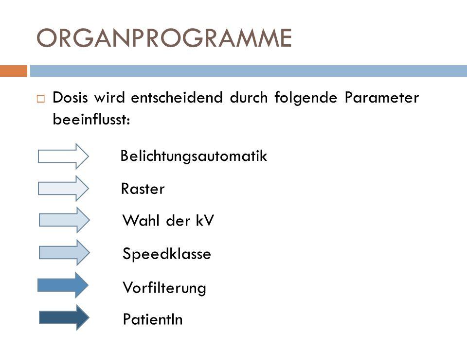 ORGANPROGRAMME Dosis wird entscheidend durch folgende Parameter beeinflusst: Belichtungsautomatik Raster Wahl der kV Speedklasse Vorfilterung PatientI