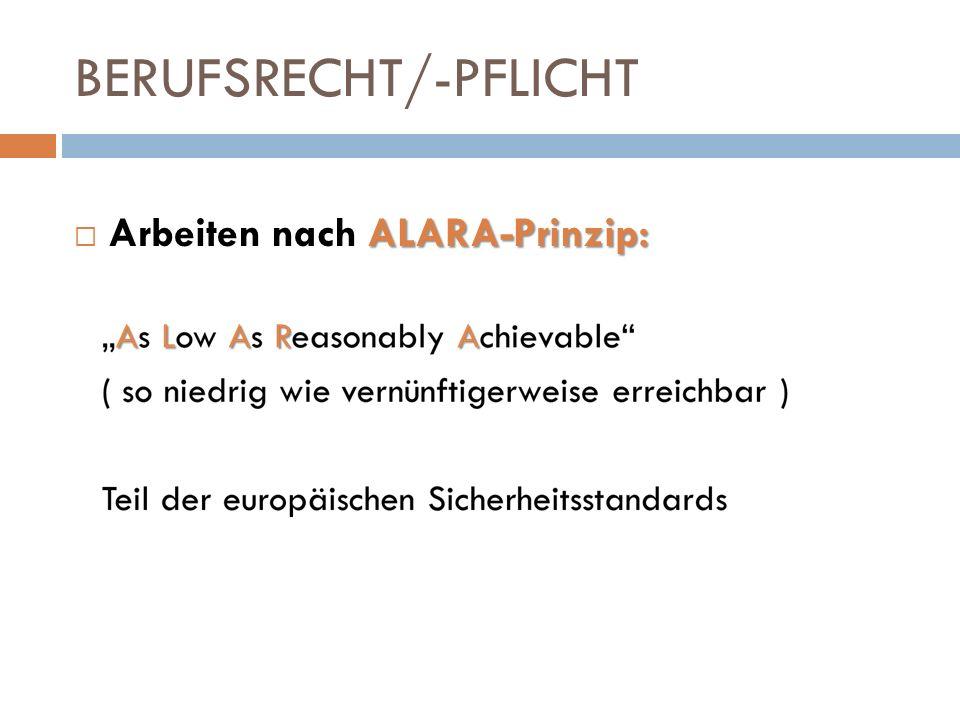 BERUFSRECHT/-PFLICHT ALARA-Prinzip: Arbeiten nach ALARA-Prinzip: