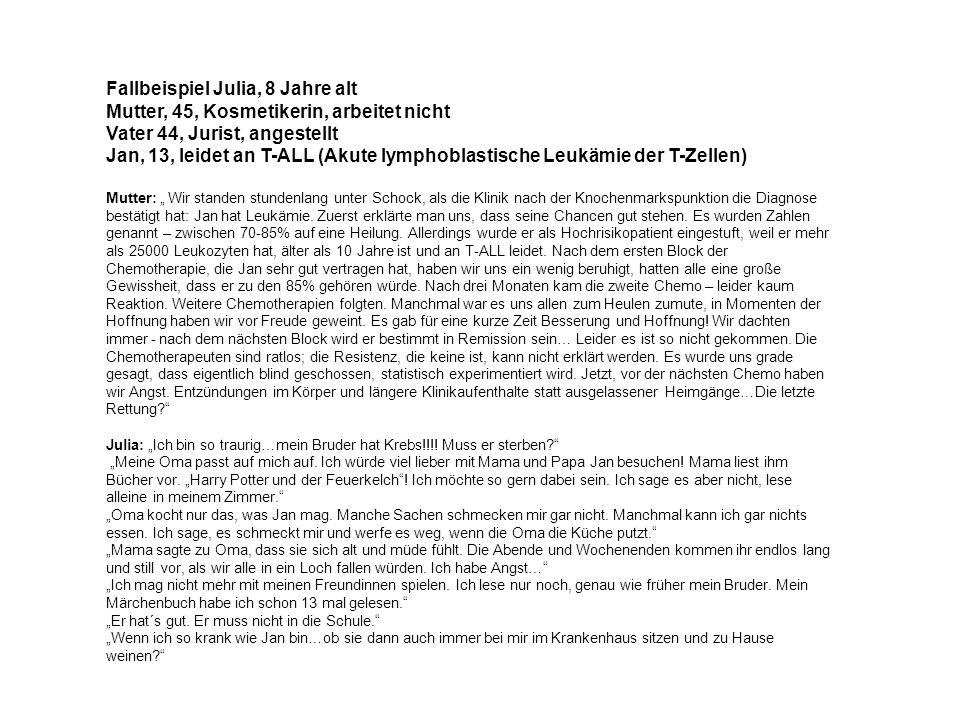 Fallbeispiel Julia, 8 Jahre alt Mutter, 45, Kosmetikerin, arbeitet nicht Vater 44, Jurist, angestellt Jan, 13, leidet an T-ALL (Akute lymphoblastische