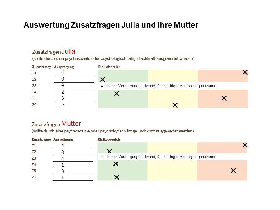 4 4 1 0 3 1 Auswertung Zusatzfragen Julia und ihre Mutter Julia 2 4 4 0 2 3 Mutter 4 = hoher Versorgungsaufwand; 0 = niedriger Versorgungsaufwand