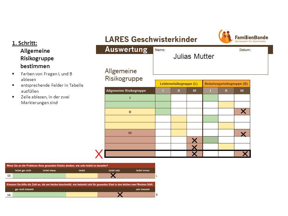 1. Schritt: Allgemeine Risikogruppe bestimmen Farben von Fragen L und B ablesen entsprechende Felder in Tabelle ausfüllen Zeile ablesen, in der zwei M