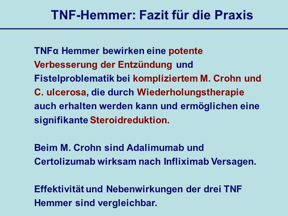 TNF-Hemmer: Fazit für die Praxis TNFα Hemmer bewirken eine potente Verbesserung der Entzündung und Fistelproblematik bei kompliziertem M. Crohn und C.