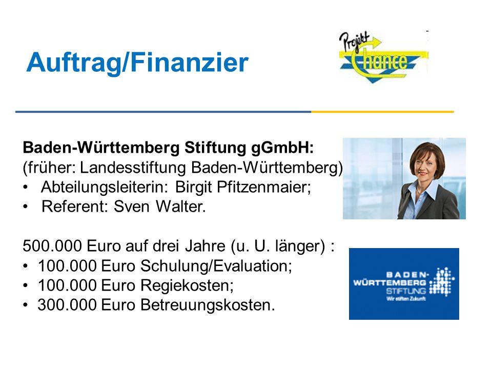Auftrag/Finanzier Baden-Württemberg Stiftung gGmbH: (früher: Landesstiftung Baden-Württemberg): Abteilungsleiterin: Birgit Pfitzenmaier; Referent: Sve