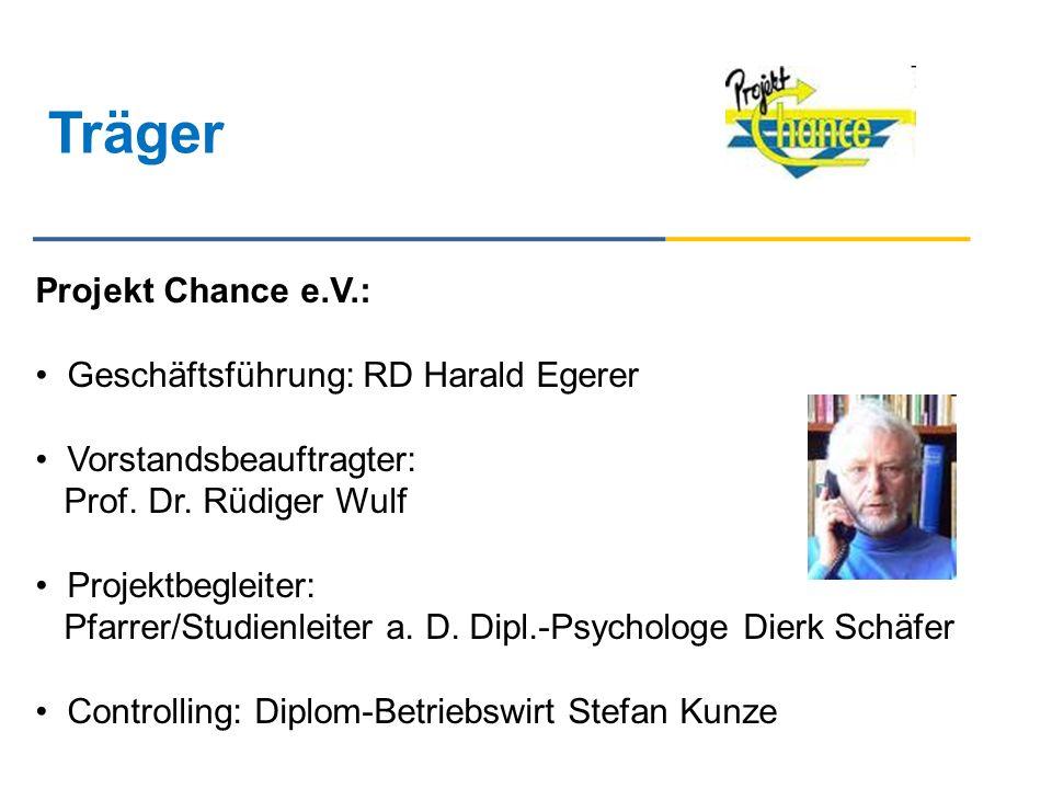 Träger Projekt Chance e.V.: Geschäftsführung: RD Harald Egerer Vorstandsbeauftragter: Prof. Dr. Rüdiger Wulf Projektbegleiter: Pfarrer/Studienleiter a