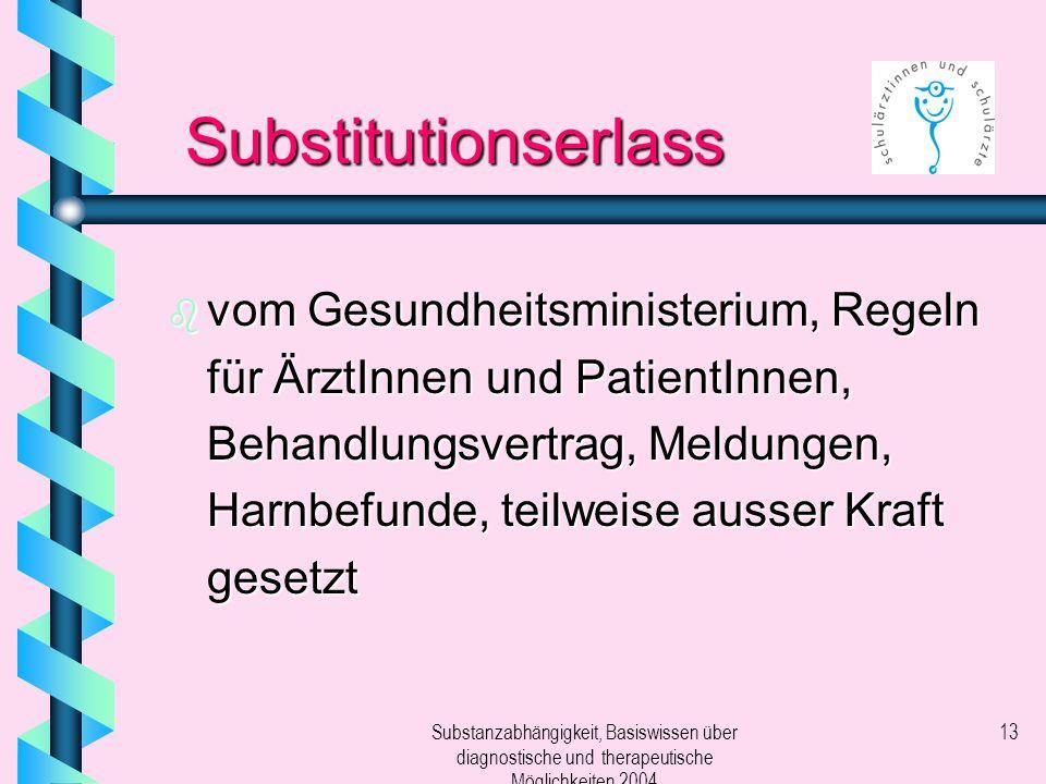 Substanzabhängigkeit, Basiswissen über diagnostische und therapeutische Möglichkeiten 2004 13 Substitutionserlass b vom Gesundheitsministerium, Regeln