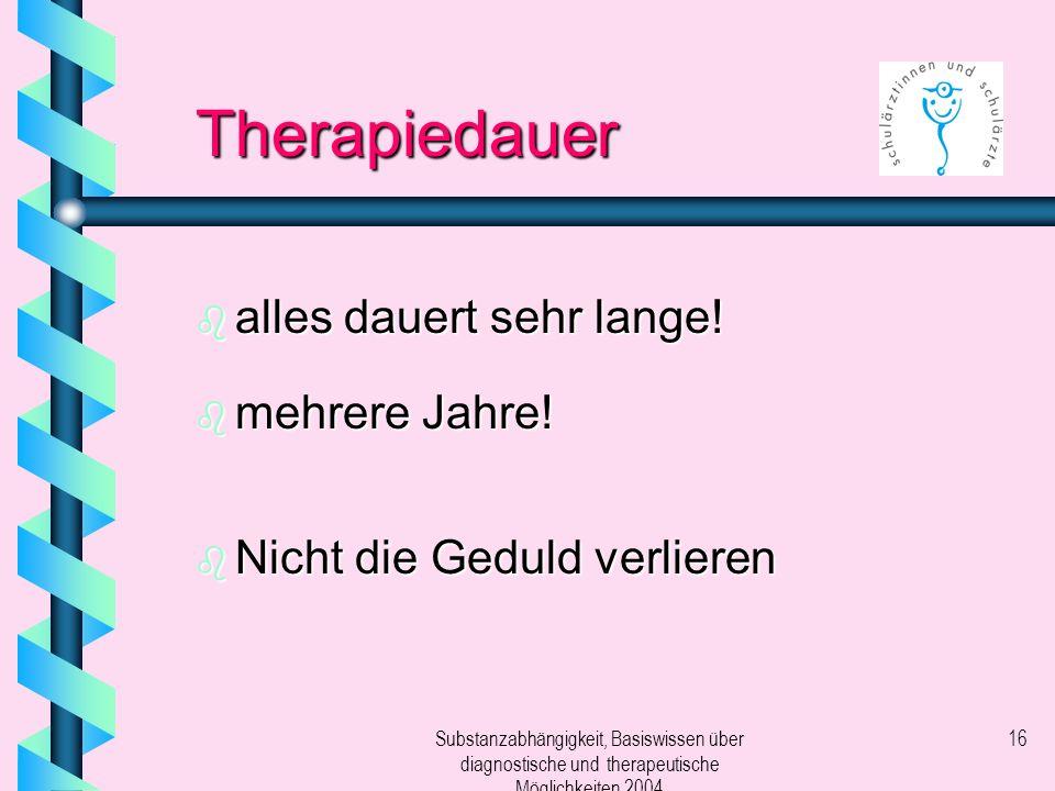 Substanzabhängigkeit, Basiswissen über diagnostische und therapeutische Möglichkeiten 2004 16 Therapiedauer b alles dauert sehr lange! b mehrere Jahre