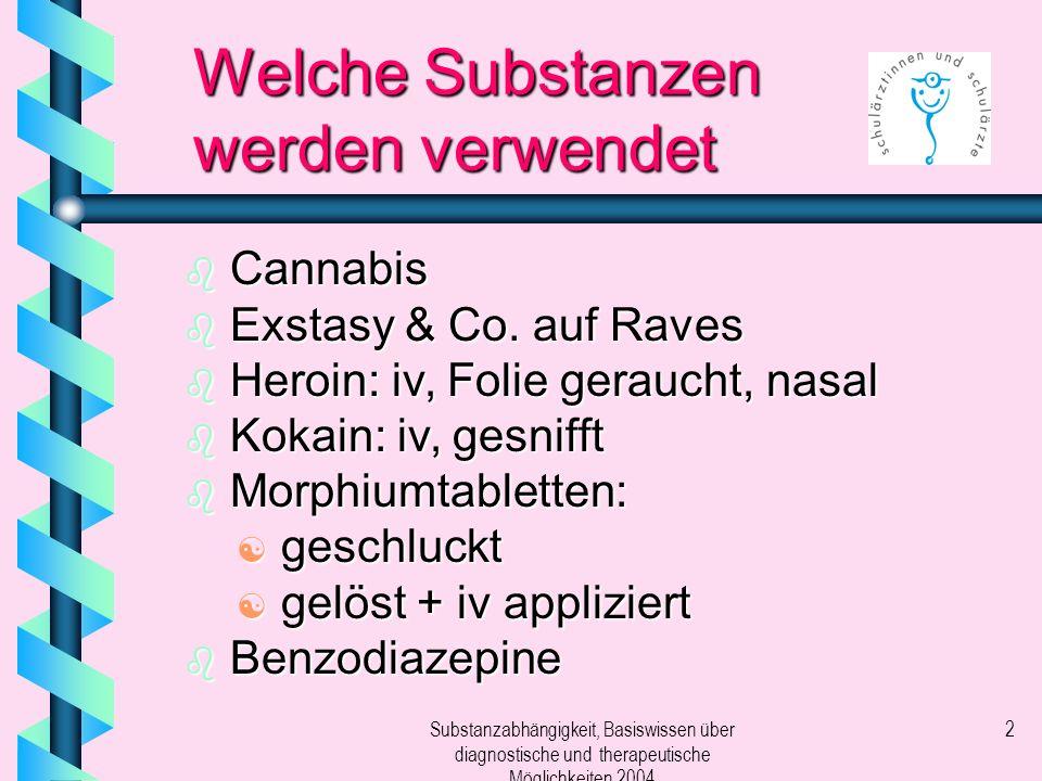 Substanzabhängigkeit, Basiswissen über diagnostische und therapeutische Möglichkeiten 2004 2 Welche Substanzen werden verwendet b Cannabis b Exstasy &