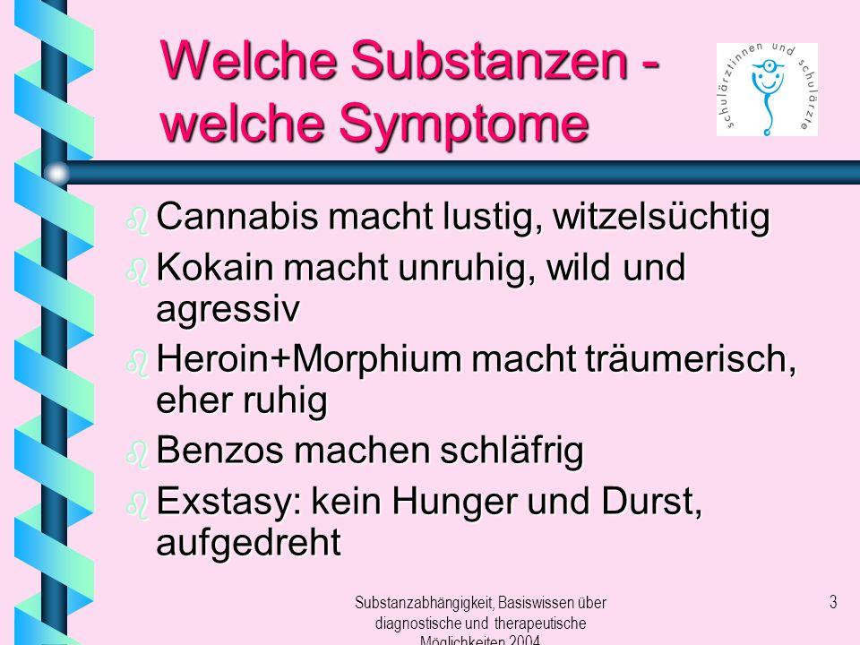 Substanzabhängigkeit, Basiswissen über diagnostische und therapeutische Möglichkeiten 2004 3 Welche Substanzen - welche Symptome b Cannabis macht lust