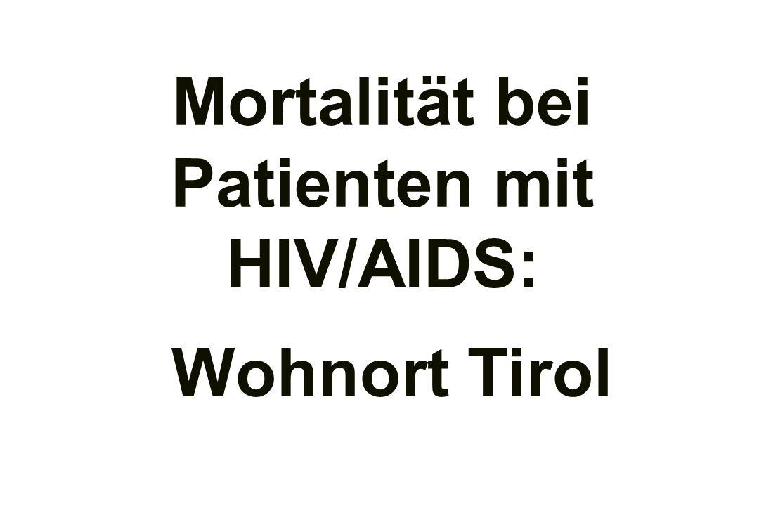 Mortalität bei Patienten mit HIV/AIDS: Wohnort Tirol