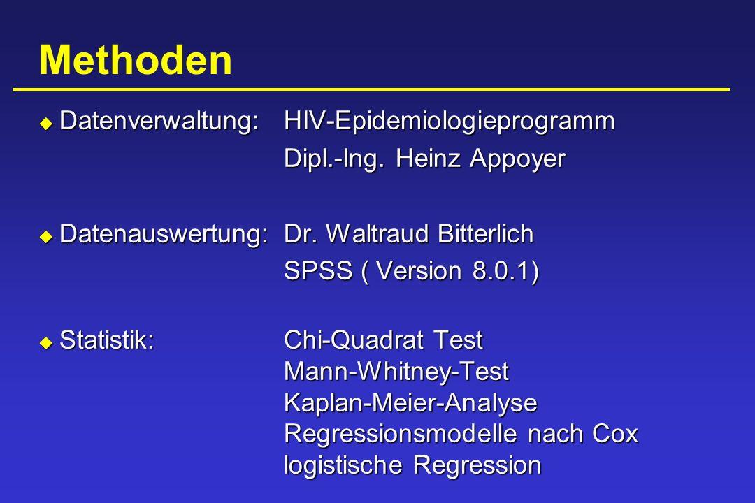Methoden Datenverwaltung: HIV-Epidemiologieprogramm Datenverwaltung: HIV-Epidemiologieprogramm Dipl.-Ing. Heinz Appoyer Datenauswertung: Dr. Waltraud
