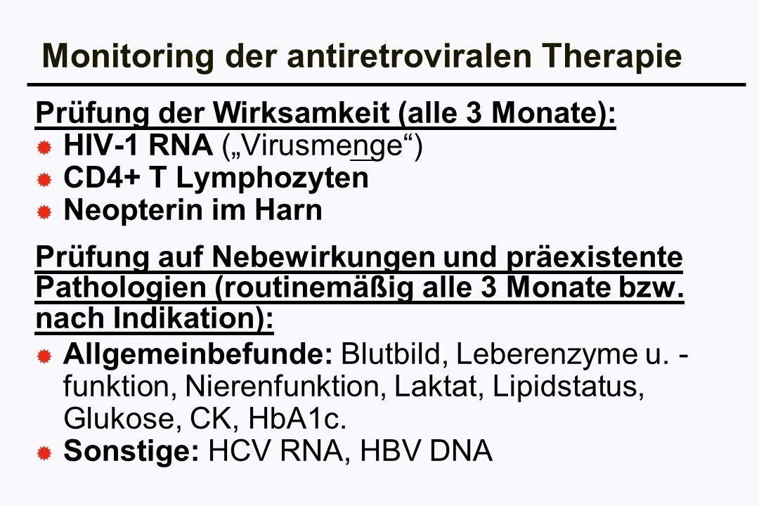 Monitoring der antiretroviralen Therapie Prüfung der Wirksamkeit (alle 3 Monate): HIV-1 RNA (Virusmenge) CD4+ T Lymphozyten Neopterin im Harn Prüfung
