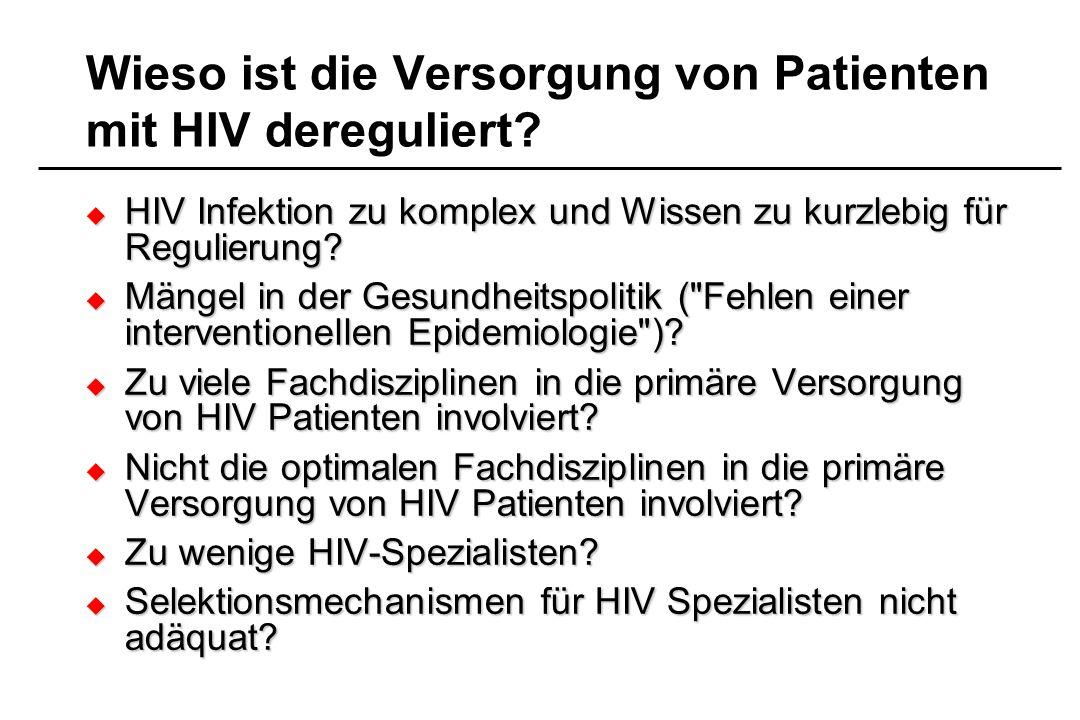 Wieso ist die Versorgung von Patienten mit HIV dereguliert? HIV Infektion zu komplex und Wissen zu kurzlebig für Regulierung? HIV Infektion zu komplex