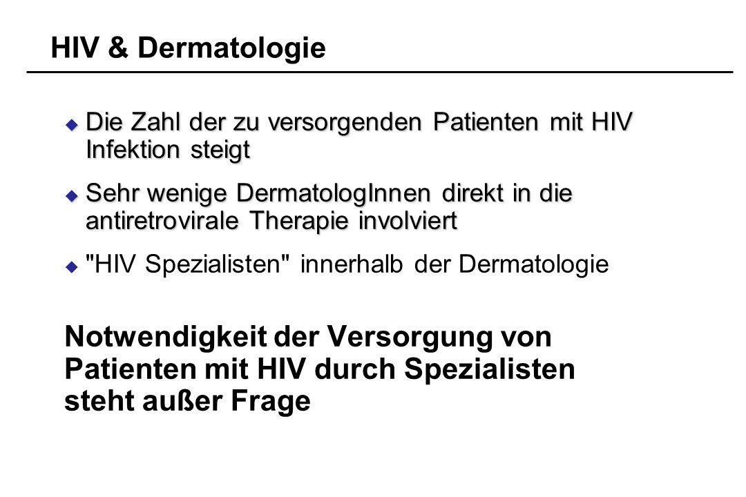 HIV & Dermatologie Die Zahl der zu versorgenden Patienten mit HIV Infektion steigt Die Zahl der zu versorgenden Patienten mit HIV Infektion steigt Seh
