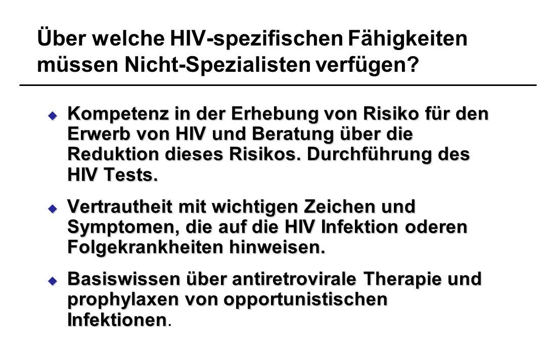 Über welche HIV-spezifischen Fähigkeiten müssen Nicht-Spezialisten verfügen? Kompetenz in der Erhebung von Risiko für den Erwerb von HIV und Beratung