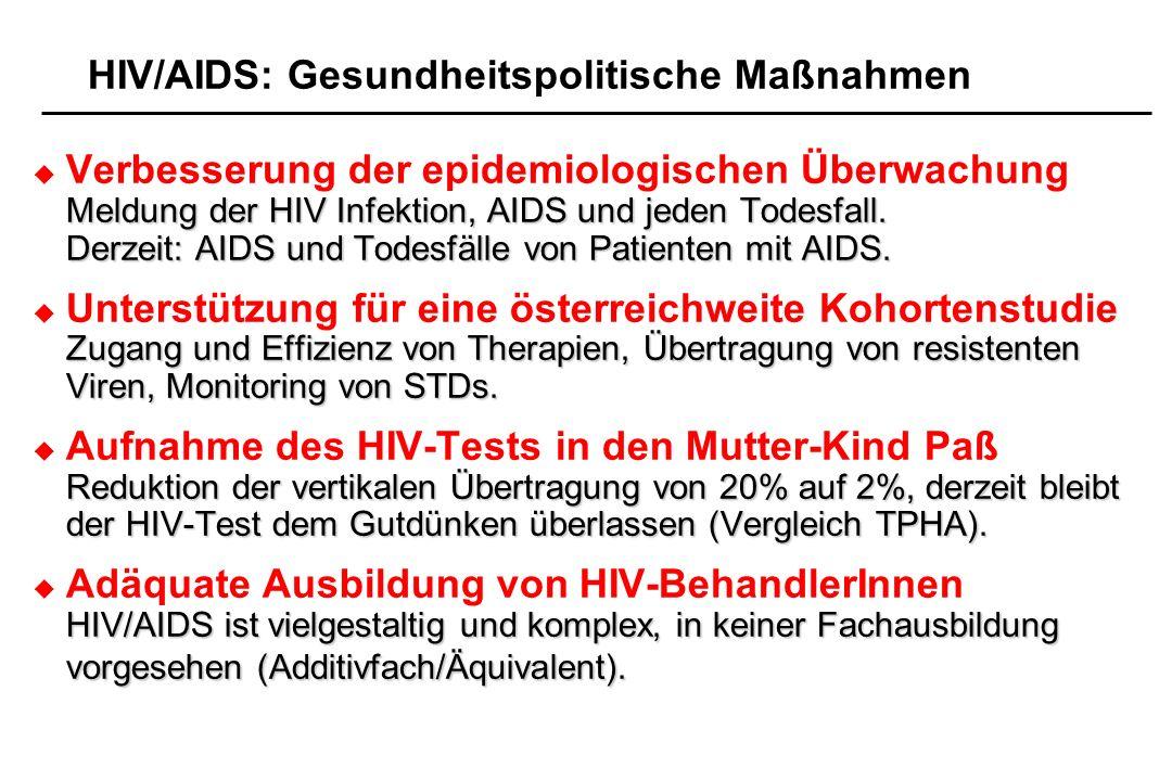 HIV/AIDS: Gesundheitspolitische Maßnahmen Verbesserung der epidemiologischen Überwachung Meldung der HIV Infektion, AIDS und jeden Todesfall. Derzeit: