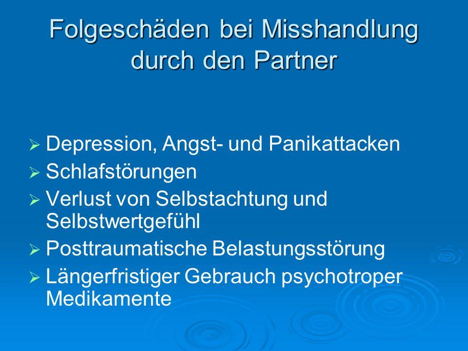 Folgeschäden bei Misshandlung durch den Partner Depression, Angst- und Panikattacken Schlafstörungen Verlust von Selbstachtung und Selbstwertgefühl Po