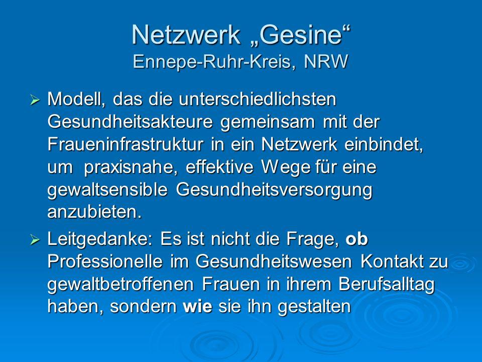 Netzwerk Gesine Ennepe-Ruhr-Kreis, NRW Modell, das die unterschiedlichsten Gesundheitsakteure gemeinsam mit der Fraueninfrastruktur in ein Netzwerk ei