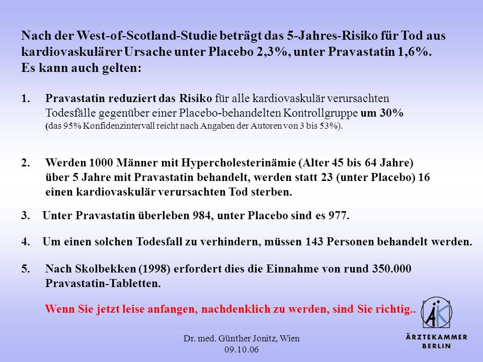 Dr. med. Günther Jonitz, Wien 09.10.06 Nach der West-of-Scotland-Studie beträgt das 5-Jahres-Risiko für Tod aus kardiovaskulärer Ursache unter Placebo