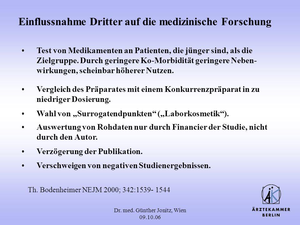 Dr. med. Günther Jonitz, Wien 09.10.06 Einflussnahme Dritter auf die medizinische Forschung Vergleich des Präparates mit einem Konkurrenzpräparat in z