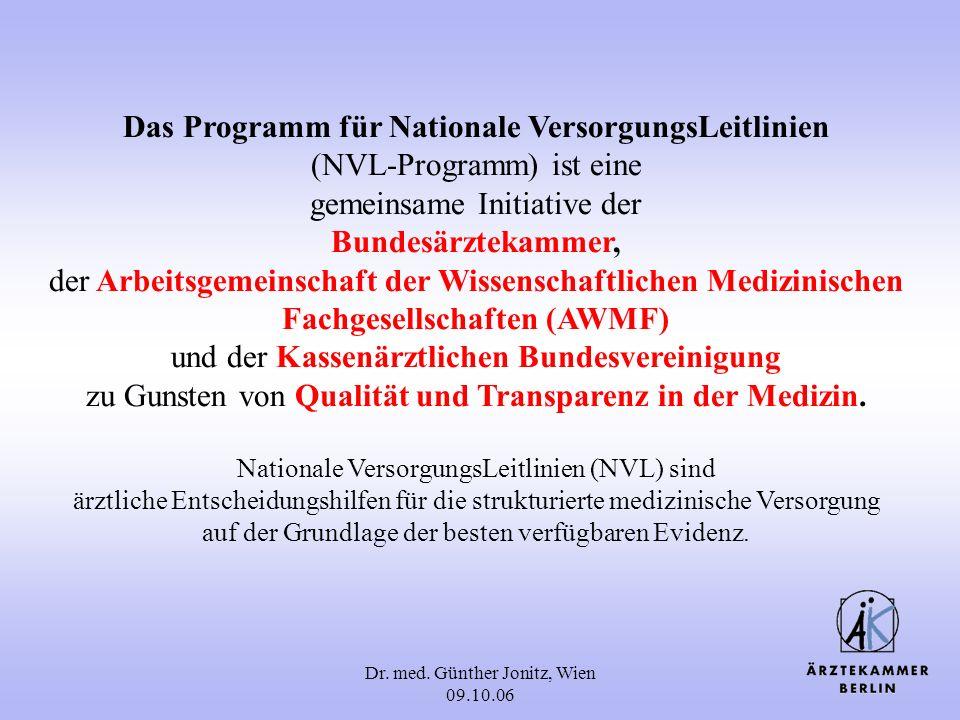 Dr. med. Günther Jonitz, Wien 09.10.06 Das Programm für Nationale VersorgungsLeitlinien (NVL-Programm) ist eine gemeinsame Initiative der Bundesärztek