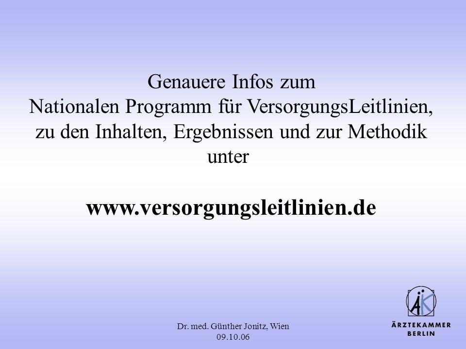 Dr. med. Günther Jonitz, Wien 09.10.06 Genauere Infos zum Nationalen Programm für VersorgungsLeitlinien, zu den Inhalten, Ergebnissen und zur Methodik