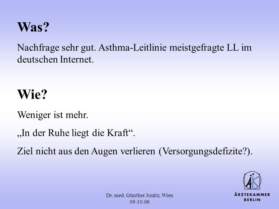 Dr. med. Günther Jonitz, Wien 09.10.06 Was? Nachfrage sehr gut. Asthma-Leitlinie meistgefragte LL im deutschen Internet. Wie? Weniger ist mehr. In der