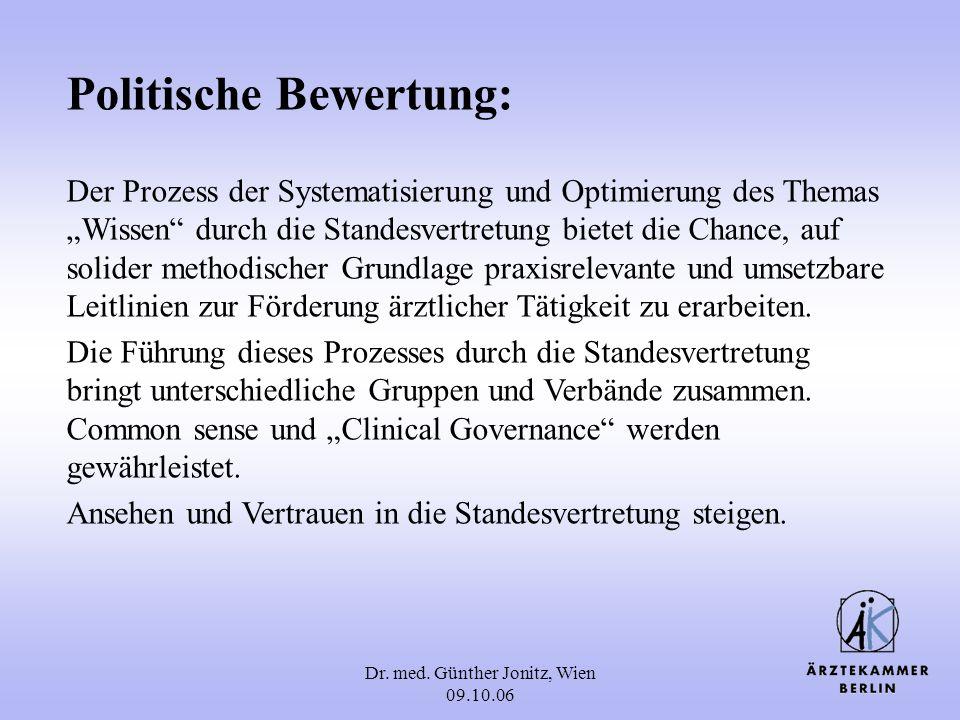 Dr. med. Günther Jonitz, Wien 09.10.06 Politische Bewertung: Der Prozess der Systematisierung und Optimierung des Themas Wissen durch die Standesvertr