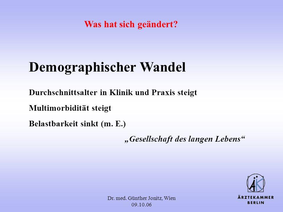Dr. med. Günther Jonitz, Wien 09.10.06 Demographischer Wandel Durchschnittsalter in Klinik und Praxis steigt Multimorbidität steigt Belastbarkeit sink