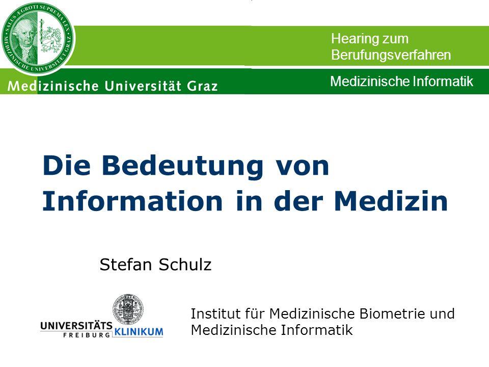 Stefan Schulz Institut für Medizinische Biometrie und Medizinische Informatik Die Bedeutung von Information in der Medizin Hearing zum Berufungsverfah