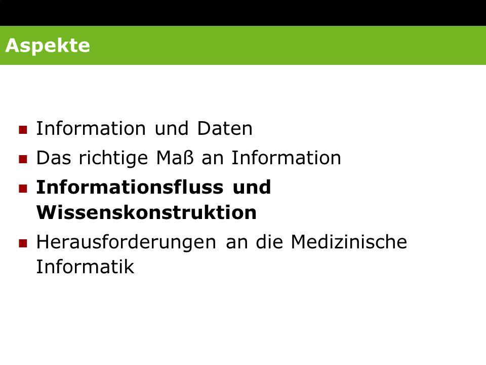 Aspekte Information und Daten Das richtige Maß an Information Informationsfluss und Wissenskonstruktion Herausforderungen an die Medizinische Informat