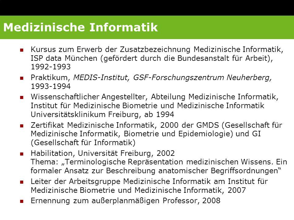 Weitere Tätigkeiten DAA-Schule für Medizinische Dokumentation, Freiburg: Programmiergrundlagen, Datenbanken, HTML Cochlear Ltd.