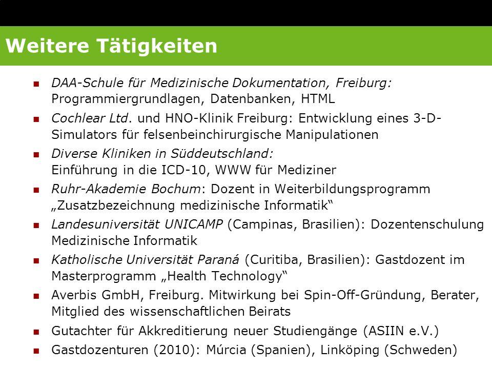 Weitere Tätigkeiten DAA-Schule für Medizinische Dokumentation, Freiburg: Programmiergrundlagen, Datenbanken, HTML Cochlear Ltd. und HNO-Klinik Freibur