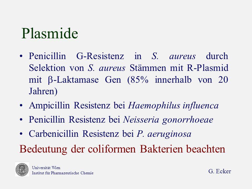 G. Ecker Universität Wien Institut für Pharmazeutische Chemie Plasmide Penicillin G-Resistenz in S. aureus durch Selektion von S. aureus Stämmen mit R