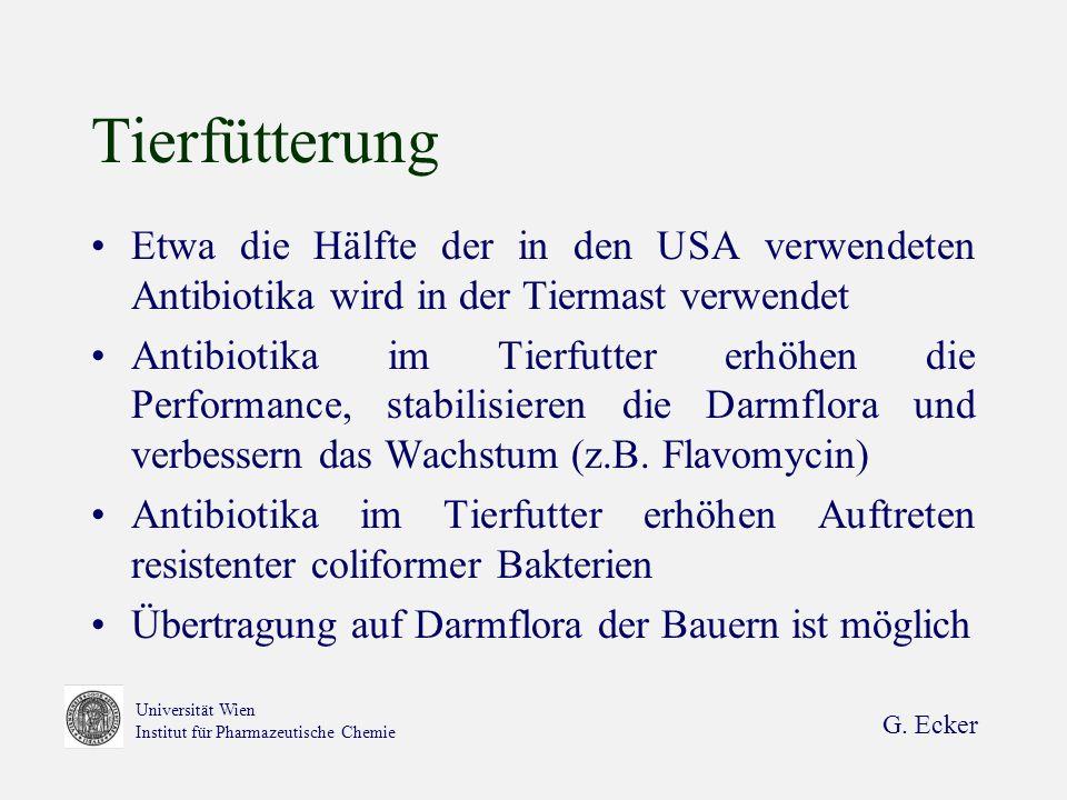 G. Ecker Universität Wien Institut für Pharmazeutische Chemie Tierfütterung Etwa die Hälfte der in den USA verwendeten Antibiotika wird in der Tiermas