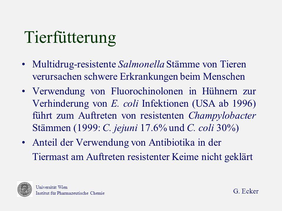 G. Ecker Universität Wien Institut für Pharmazeutische Chemie Tierfütterung Multidrug-resistente Salmonella Stämme von Tieren verursachen schwere Erkr