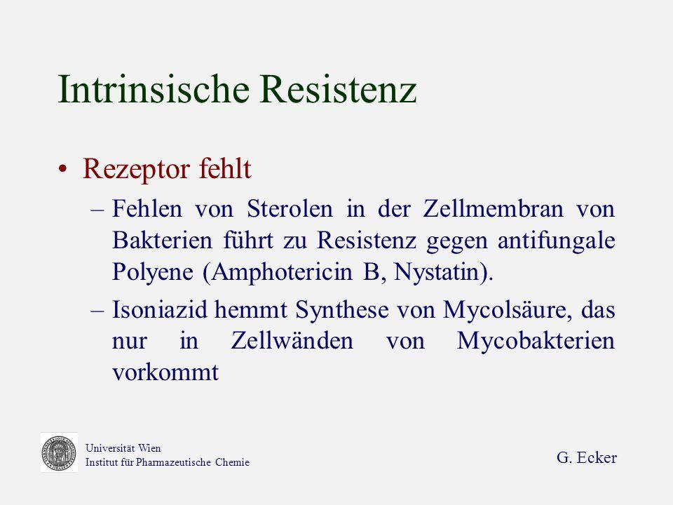G. Ecker Universität Wien Institut für Pharmazeutische Chemie Intrinsische Resistenz Rezeptor fehlt –Fehlen von Sterolen in der Zellmembran von Bakter
