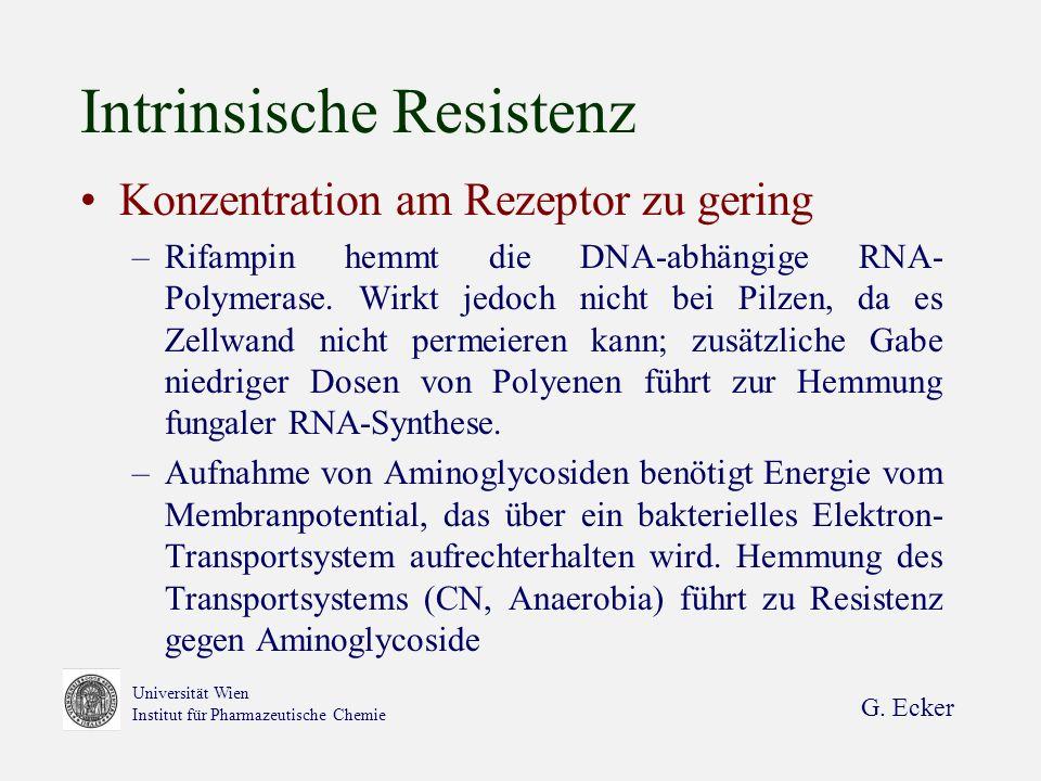 G. Ecker Universität Wien Institut für Pharmazeutische Chemie Intrinsische Resistenz Konzentration am Rezeptor zu gering –Rifampin hemmt die DNA-abhän
